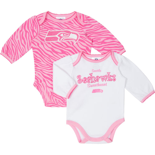 Seahawks Pink Long Sleeved Onesies 2-Pack