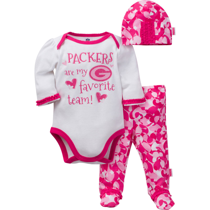 Packers Baby Girl 3 Piece Outfit