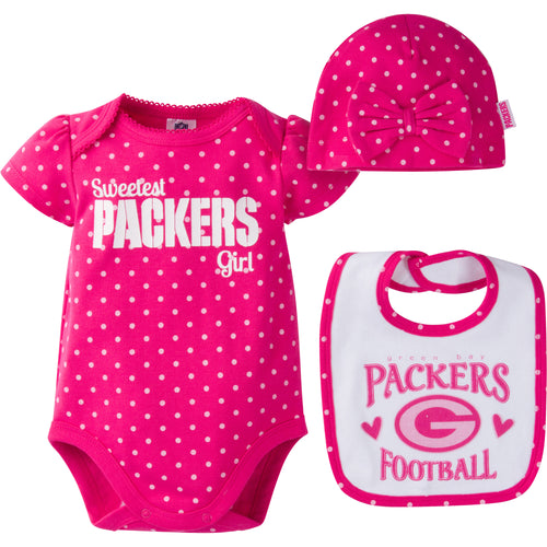 Infant Packers Girl Onesie, Bib and Cap
