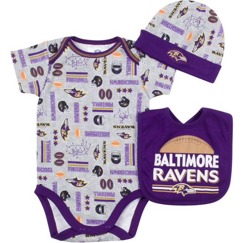 Baby Ravens Fan Onesie, Cap and Bib