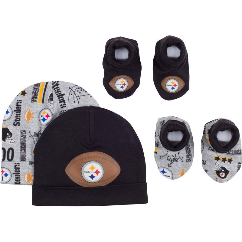 Baby Steelers Fan Caps & Booties Set