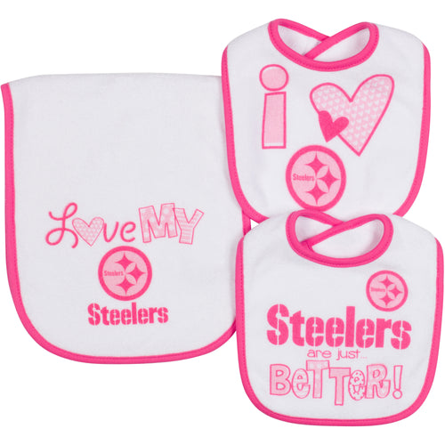 Love My Steelers Bibs and Burp Cloth
