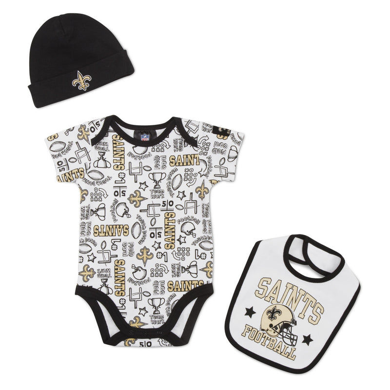 Saints Baby Team Spirit Creeper, Bib & Beanie