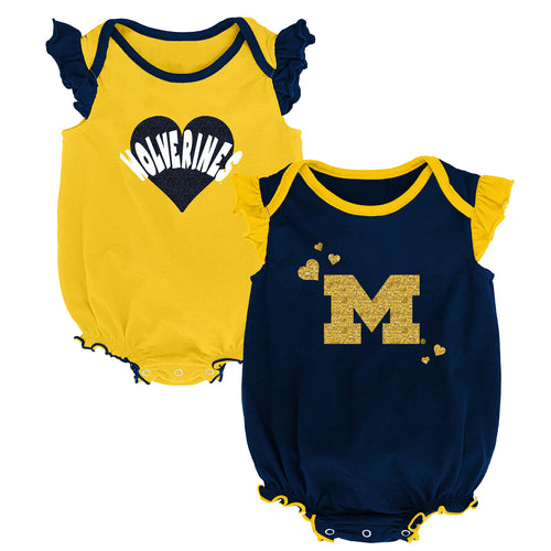 Michigan Wolverines Baby Girl Duo Bodysuit Set