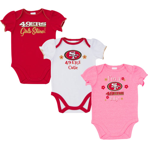 49ers Girls Shine 3 Pack Short Sleeved Onesies