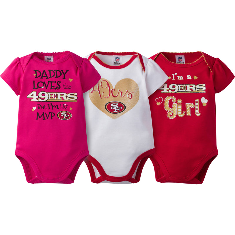 49ers Girls 3 Pack Short Sleeved Onesies