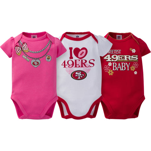 San Francisco 49ers 3-Pack Baby Girl Short Sleeve Bodysuits