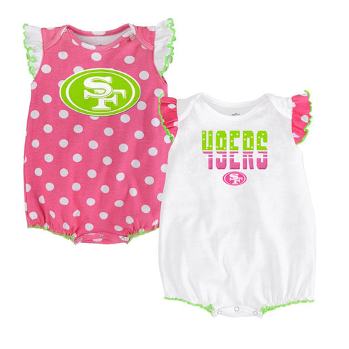 49ers Baby Girl Polka Dot Creeper Set
