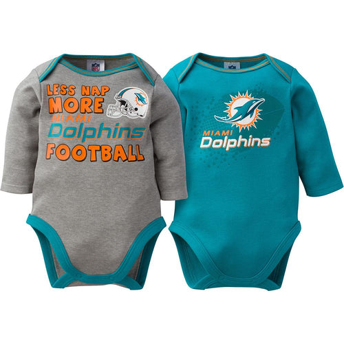 Dolphins Baby Boy 2-Pack Long Sleeve Bodysuit