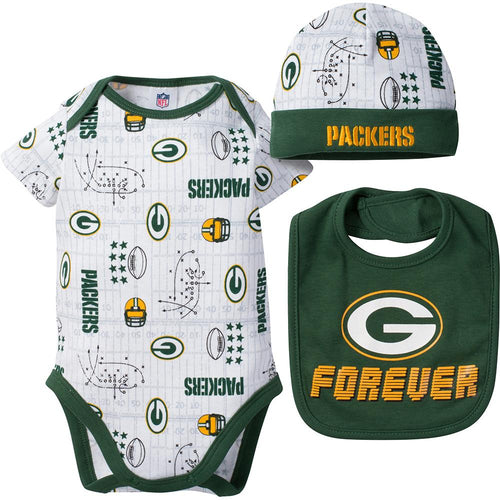 Packers Baby Boy Bodysuit, Cap and Bib Set