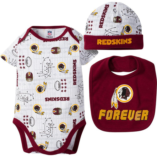 Redskins Baby Boy Bodysuit, Cap and Bib Set