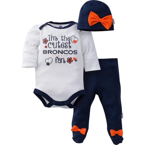 Broncos Baby Girls Bodysuit, Pant and Cap Set
