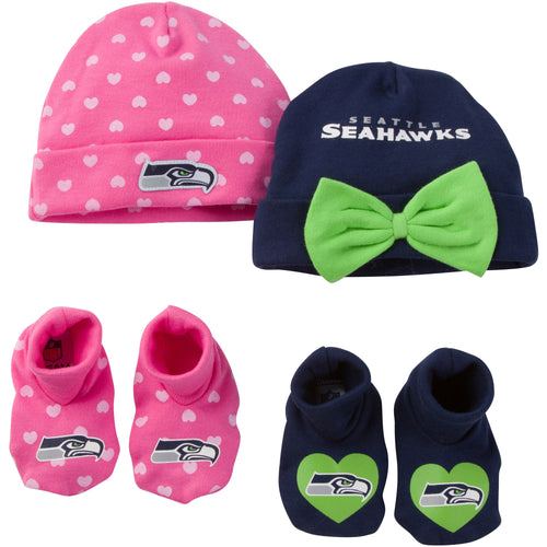 Seahawks Baby Girl 4 Piece Caps and Booties Set