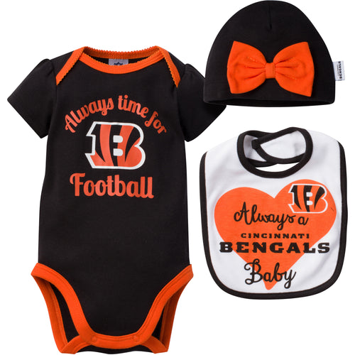 Always a Bengals Baby Girl Bodysuit, Bib and Cap Set