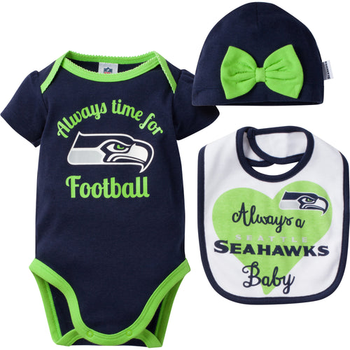 Always a Seahawks Baby Girl Bodysuit, Bib and Cap Set