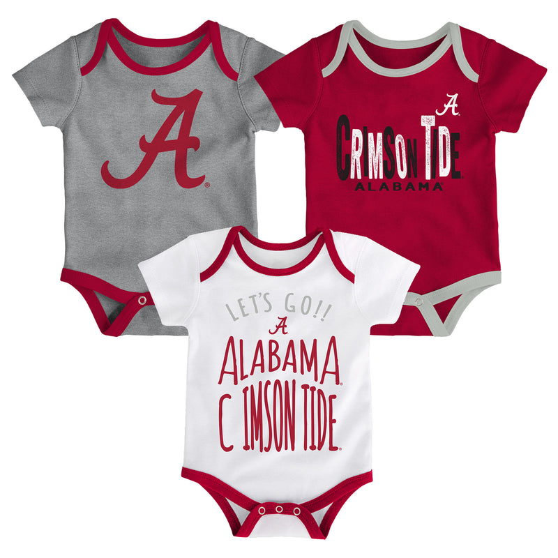 Crimson Tide Let's Go 3-Pack Bodysuit Set