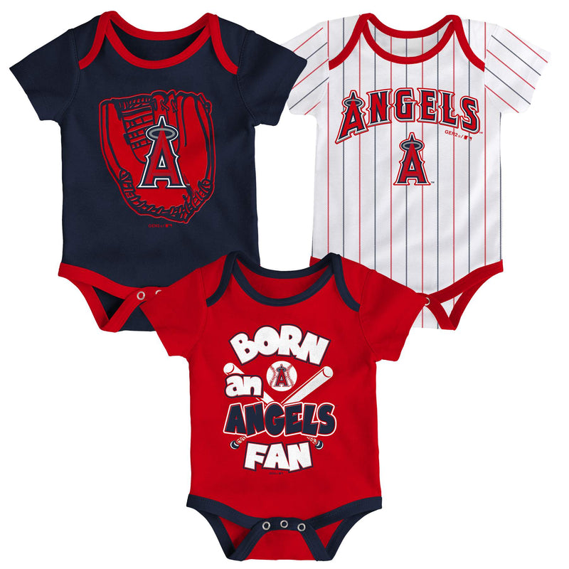 Angels Baseball Fan 3 Pack Bodysuit Set