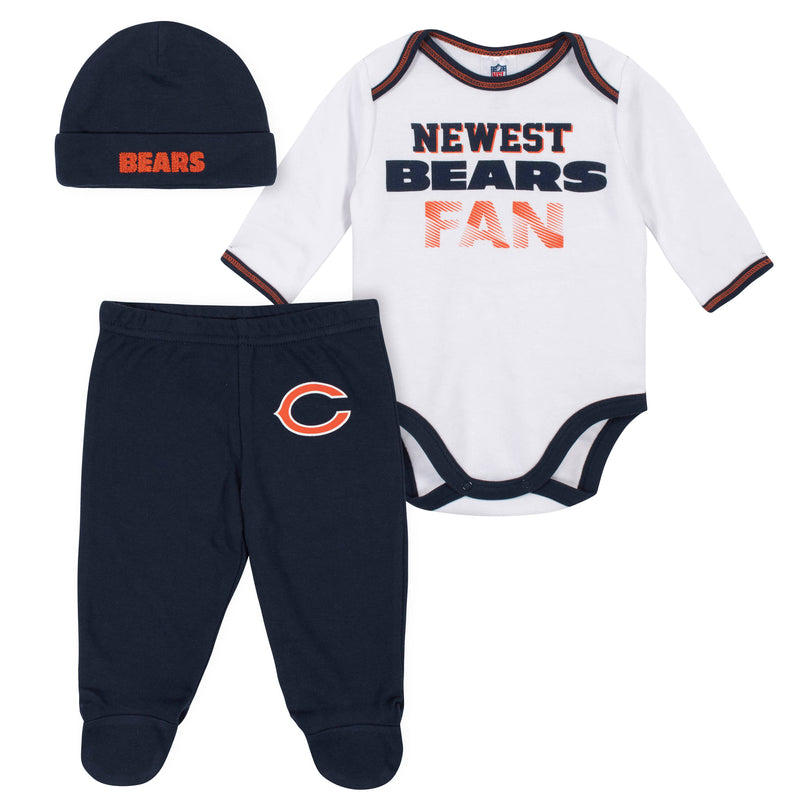 Newest Bears Fan Baby Boy Bodysuit, Footed Pant & Cap Set