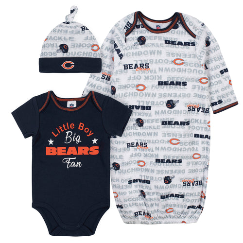 Bears Baby Boy Bodysuit, Gown & Cap Set