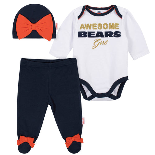 Awesome Bears Baby Girl Bodysuit, Footed Pant & Cap Set