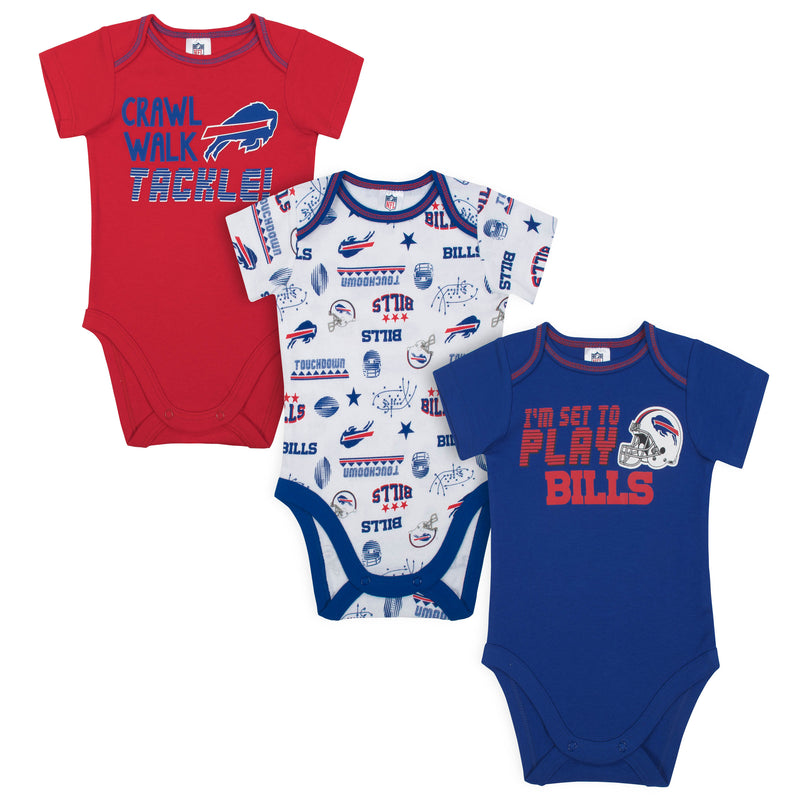Bills All Set to Play 3 Pack Short Sleeved Onesies Bodysuits
