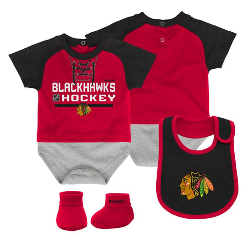 Blackhawks Baby Onesie, Bib and Bootie Set