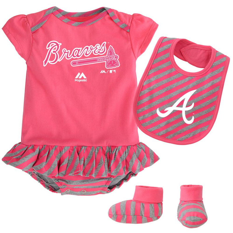 Braves Girl Pink Striped Bib, Bootie and Creeper Set