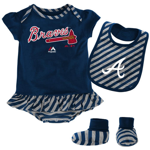 Braves Girl Striped Bib, Bootie and Creeper Set