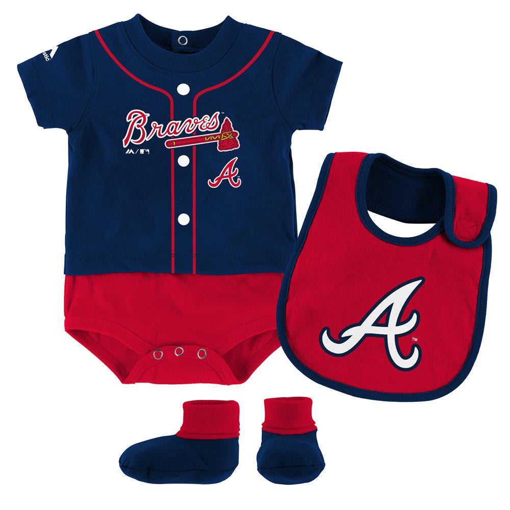 a83785995 Braves Baby Ball Player Creeper Bib and Bootie Set – babyfans