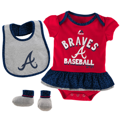 Sweet Braves Fan Bodysuit, Bib and Bootie
