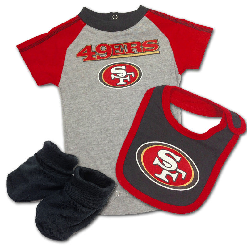 Baby 49ers Creeper, Bib & Bootie Outfit