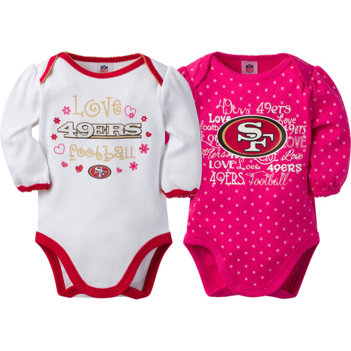 49ers Infant Girls Long Sleeve 2 Pack Bodysuits