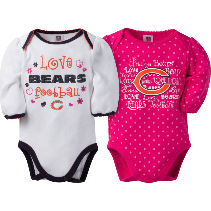 Bears Infant Girls Long Sleeve 2 Pack Bodysuits