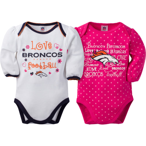 Broncos Infant Girls Long Sleeve 2 Pack Bodysuits