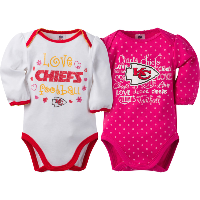 Chiefs Infant Girls Long Sleeve 2 Pack Bodysuits