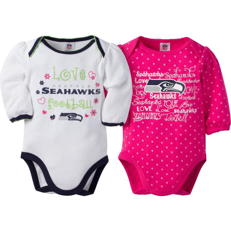 Seahawks Infant Girls Long Sleeve 2 Pack Bodysuits