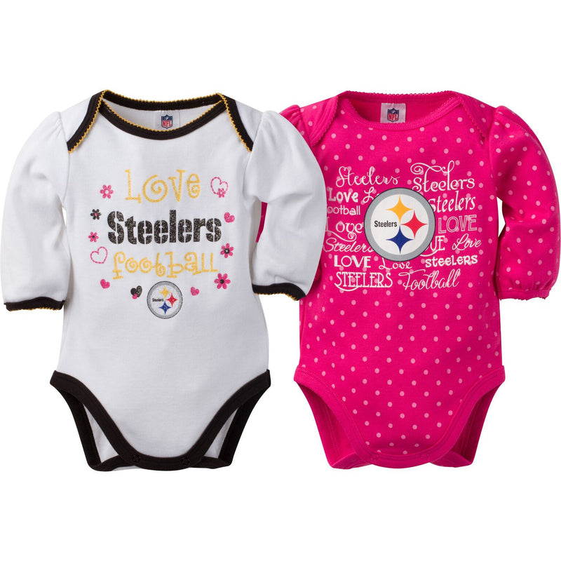 Steelers Infant Girls Long Sleeve 2 Pack Bodysuits