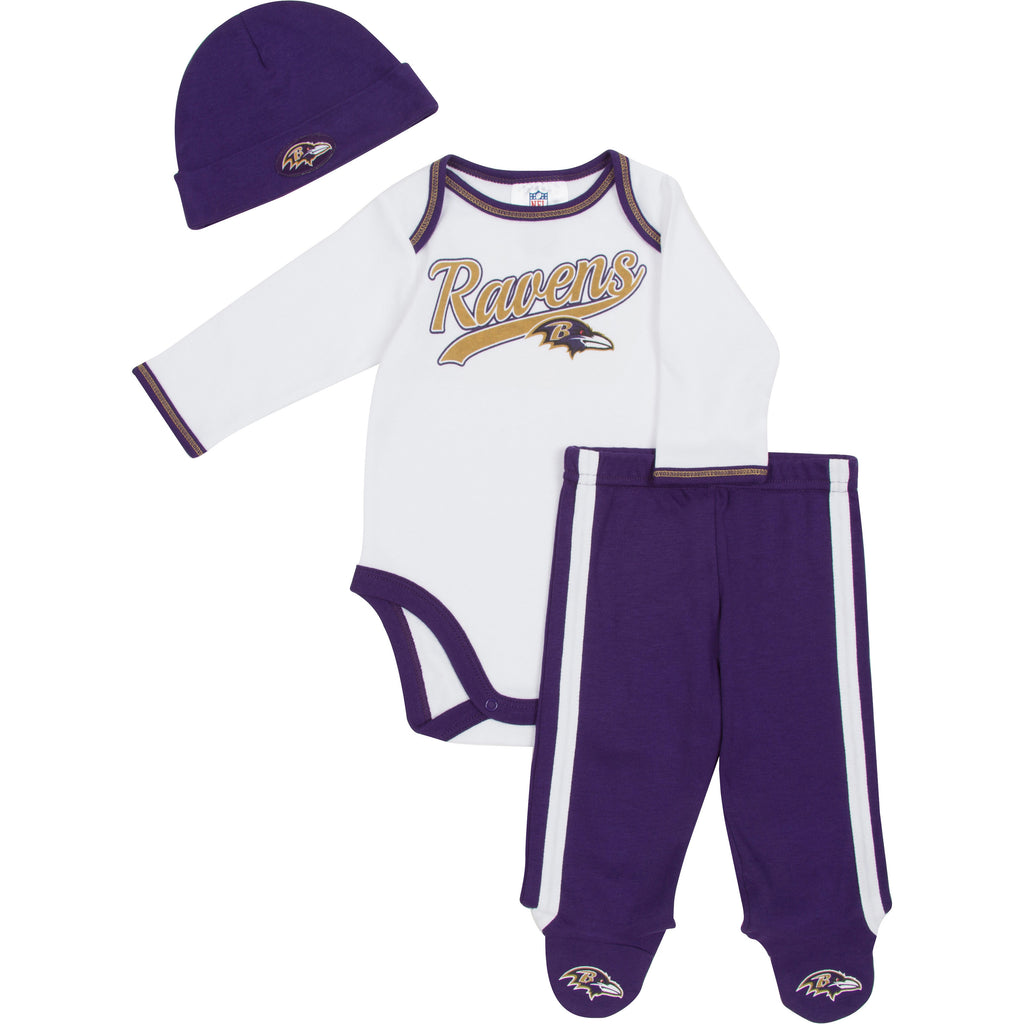 Ravens Baby Onesie, Footed Pant & Cap – babyfans