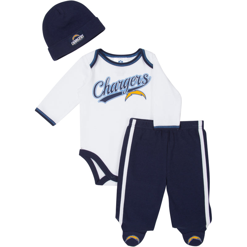 Chargers Baby Onesie, Footed Pant & Cap