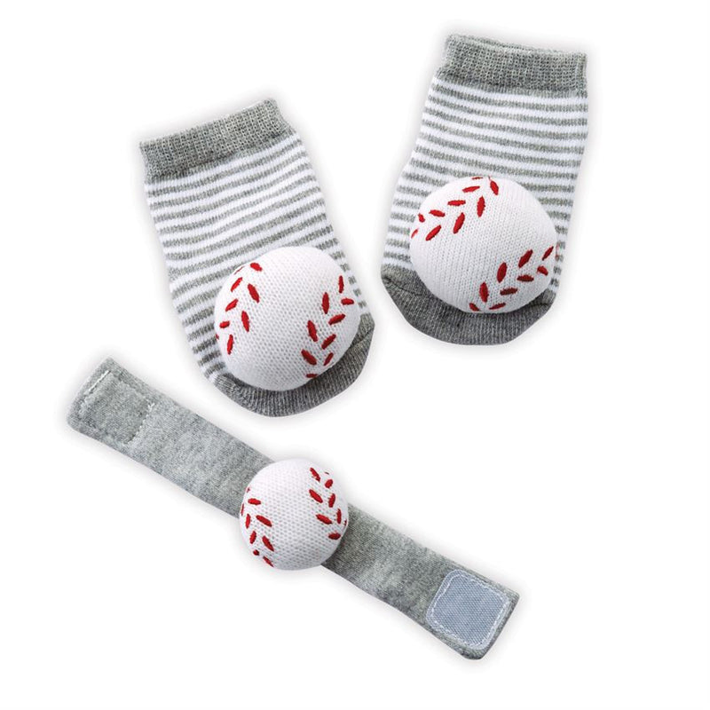 Baseball Wrist Rattle and Sock Set