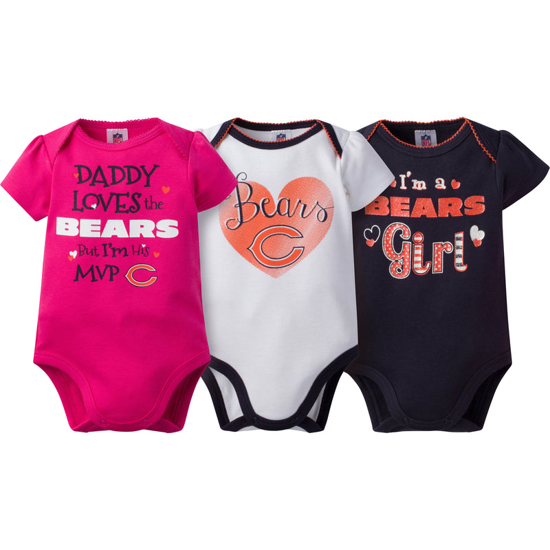 Bears Girls 3 Pack Short Sleeved Onesies