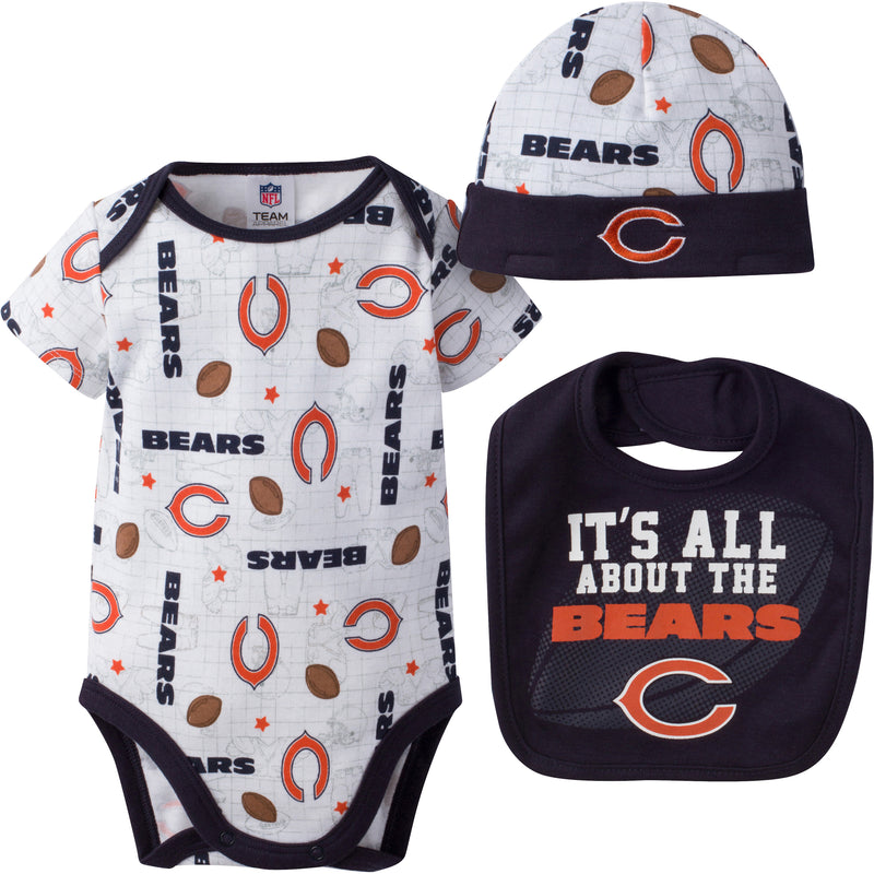 Bears Baby Logo Onesie, Cap and Bib