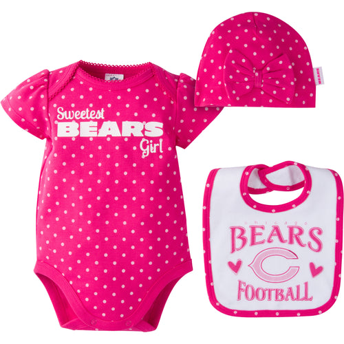 Infant Bears Girl Onesie, Bib and Cap