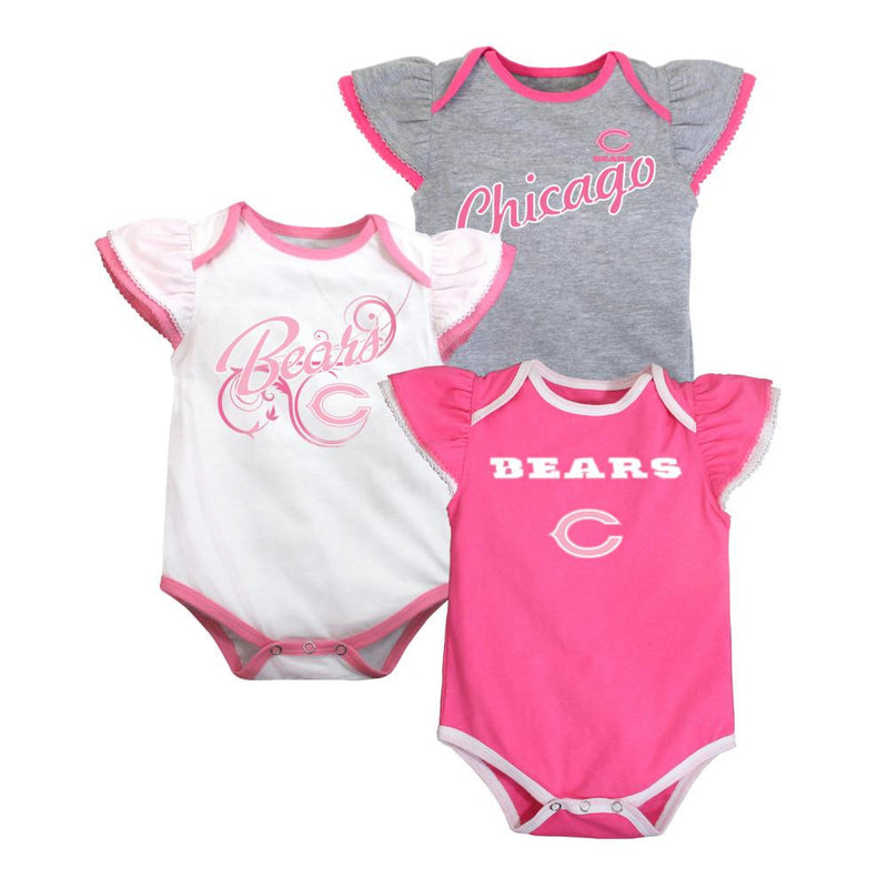 Bears Three Pack Pink Body Suit Set
