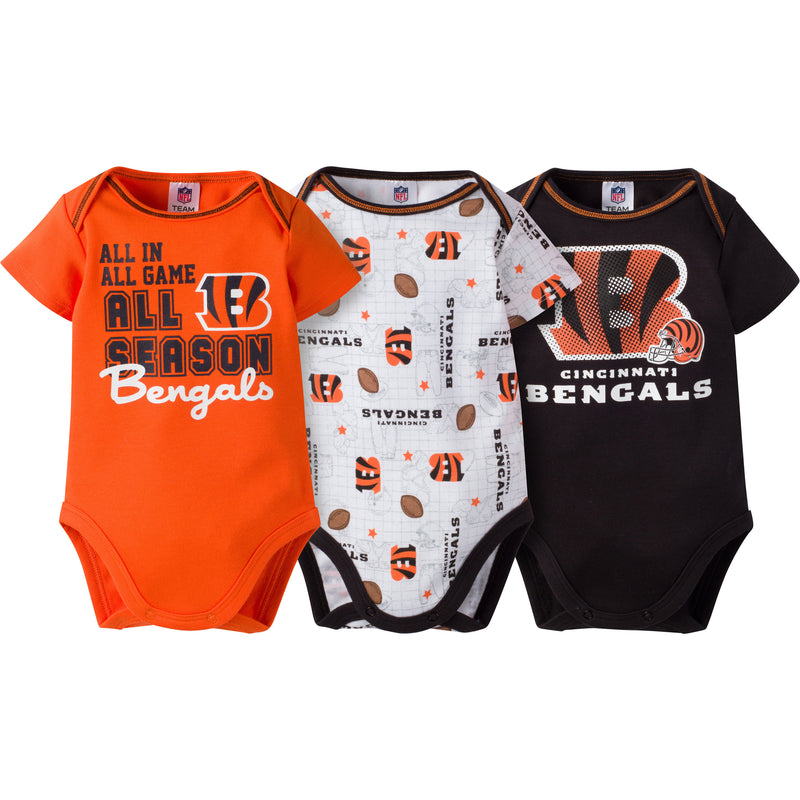Bengals Infant 3-Pack Logo Onesies