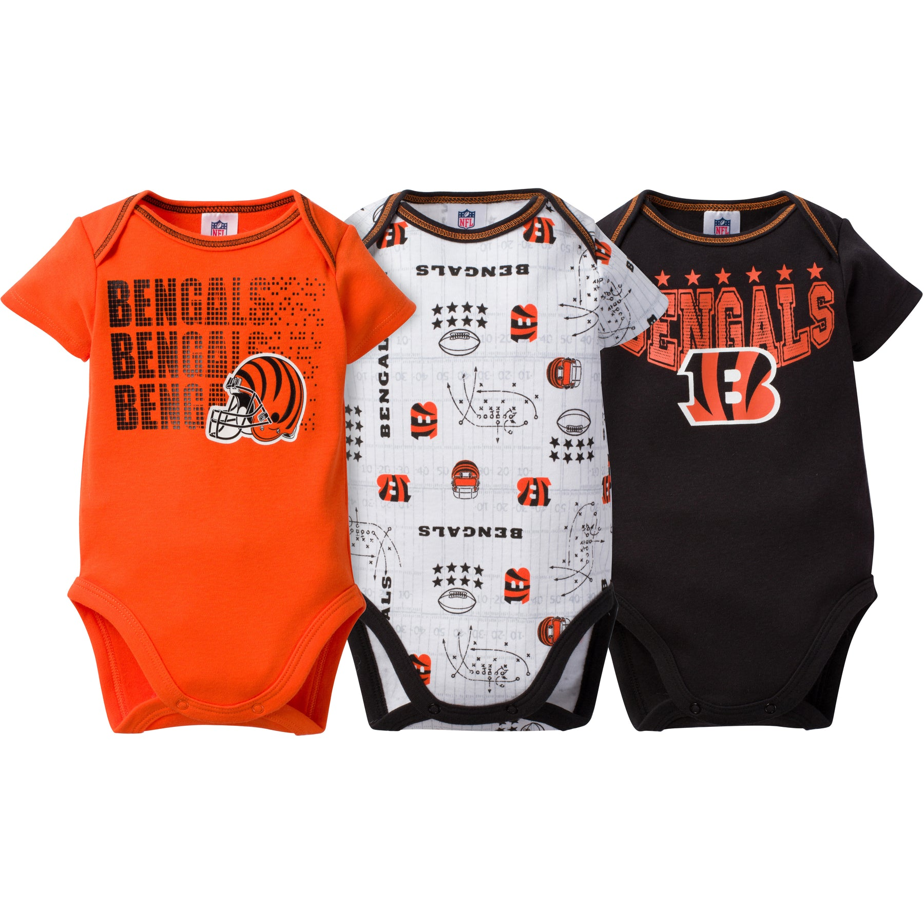 4a076218 Bengals Baby 3 Pack Short Sleeve Onesies