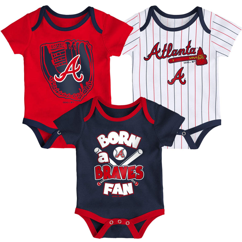 Braves Baseball Fan 3 Pack Bodysuit Set