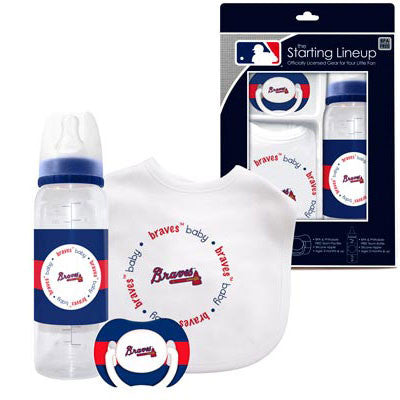 Braves Baby Bib, Bottle and Pacifier Set