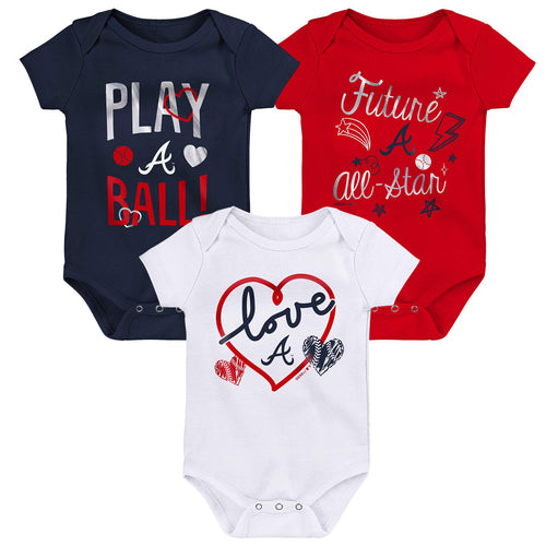 Braves Girl 3 Piece Bodysuit Set