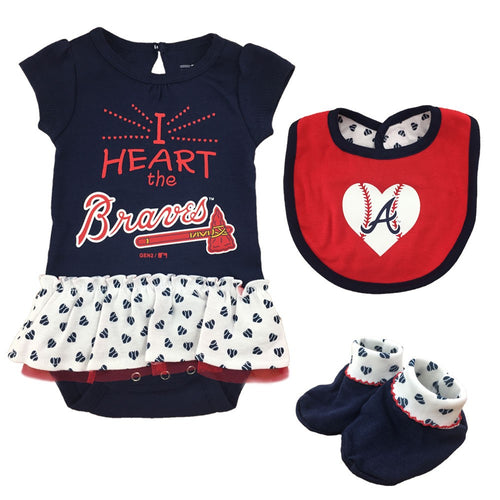 Baby Girl  I Heart The Braves Skirted Bodysuit Set
